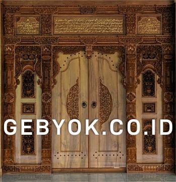 Pintu Rumah Gebyok Ukir Minimalis Ukir Kaligrafi
