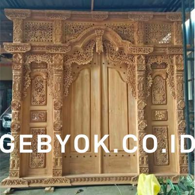 Pintu Rumah Gebyok Jawa Model Kupu Tarung 3 meter Mentah belum Finishing